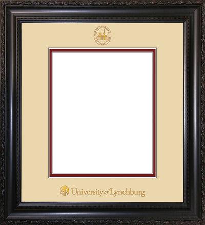 Image of University of Lynchburg Diploma Frame - Vintage Black Scoop - w/Embossed UL Seal & Name - Cream on Crimson mat
