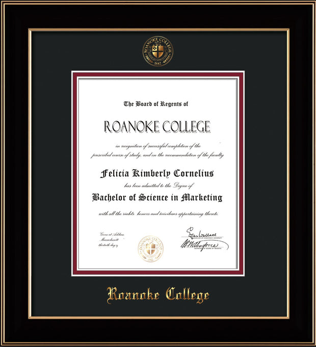 Image of Roanoke College Diploma Frame - Black Lacquer - w/Embossed RC Seal & Name - Black on Maroon mat