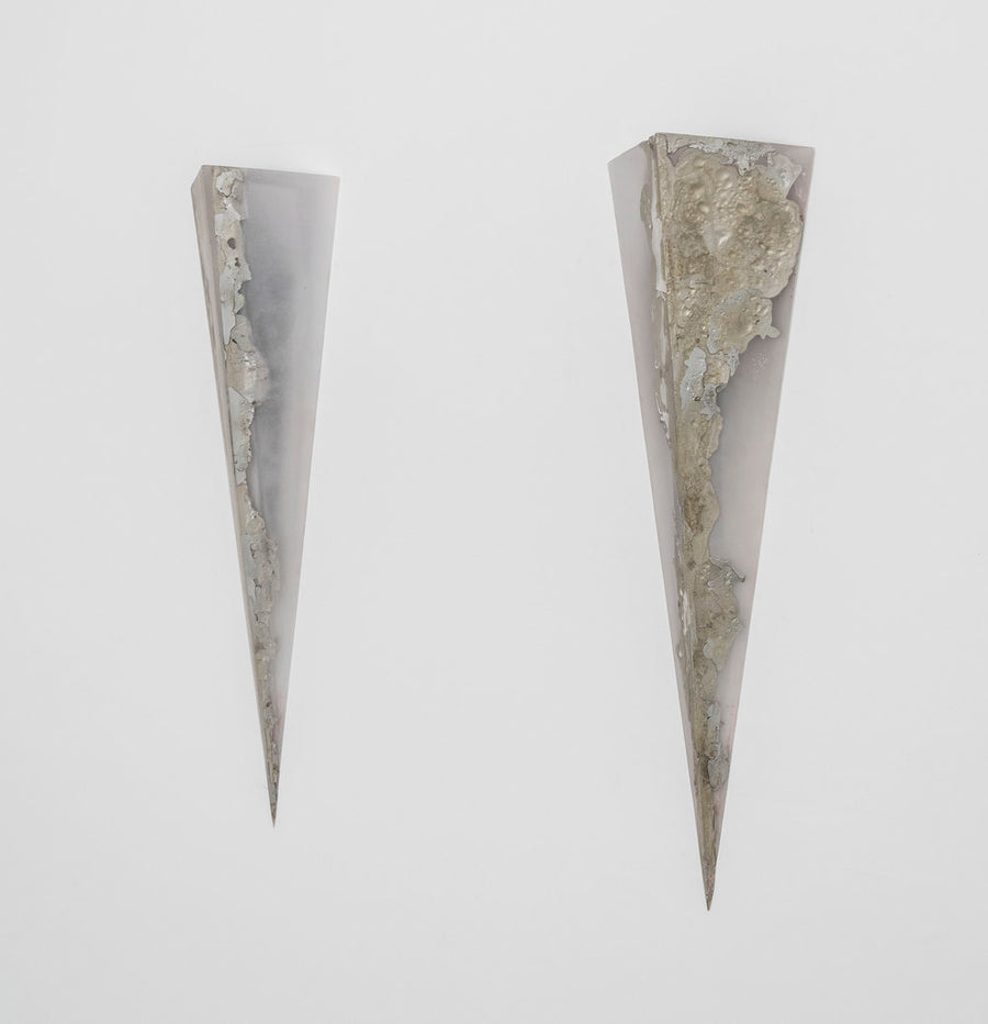 Prism wall sconce light sculpture in resin and pewter by Amanda Richards. Represented by Tuleste Factory in New York City.