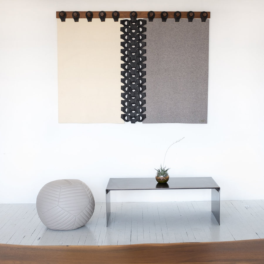 This designer tapestry is handcrafted from leather and wool felt by Moses Nadel. Represented by Tuleste Factory, a collectible design and fine art gallery in New York City.