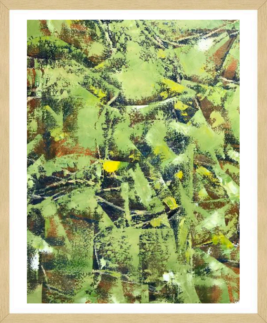 Green, Yellow, and Brown Abstract Painting framed by Korean-American Artist Sang Eui Kim. Represented by Tuleste Factory in New York City.