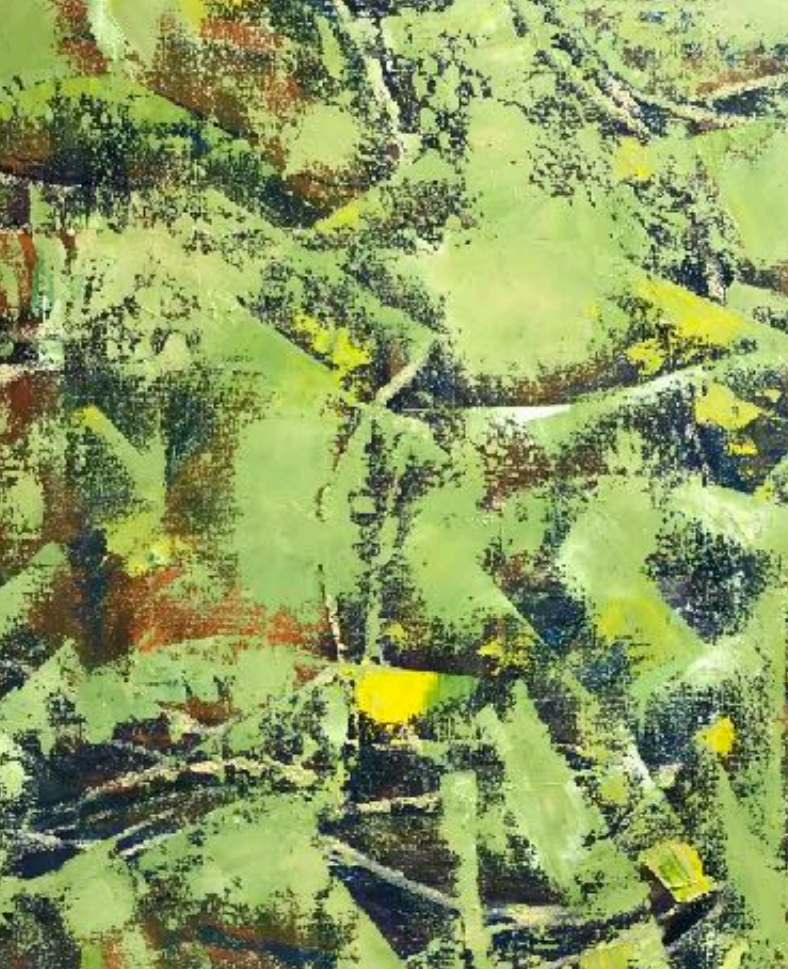 Close - Up details of Green, Yellow, and Brown Abstract Painting by Korean-American Artist Sang Eui Kim. Represented by Tuleste Factory in New York City.