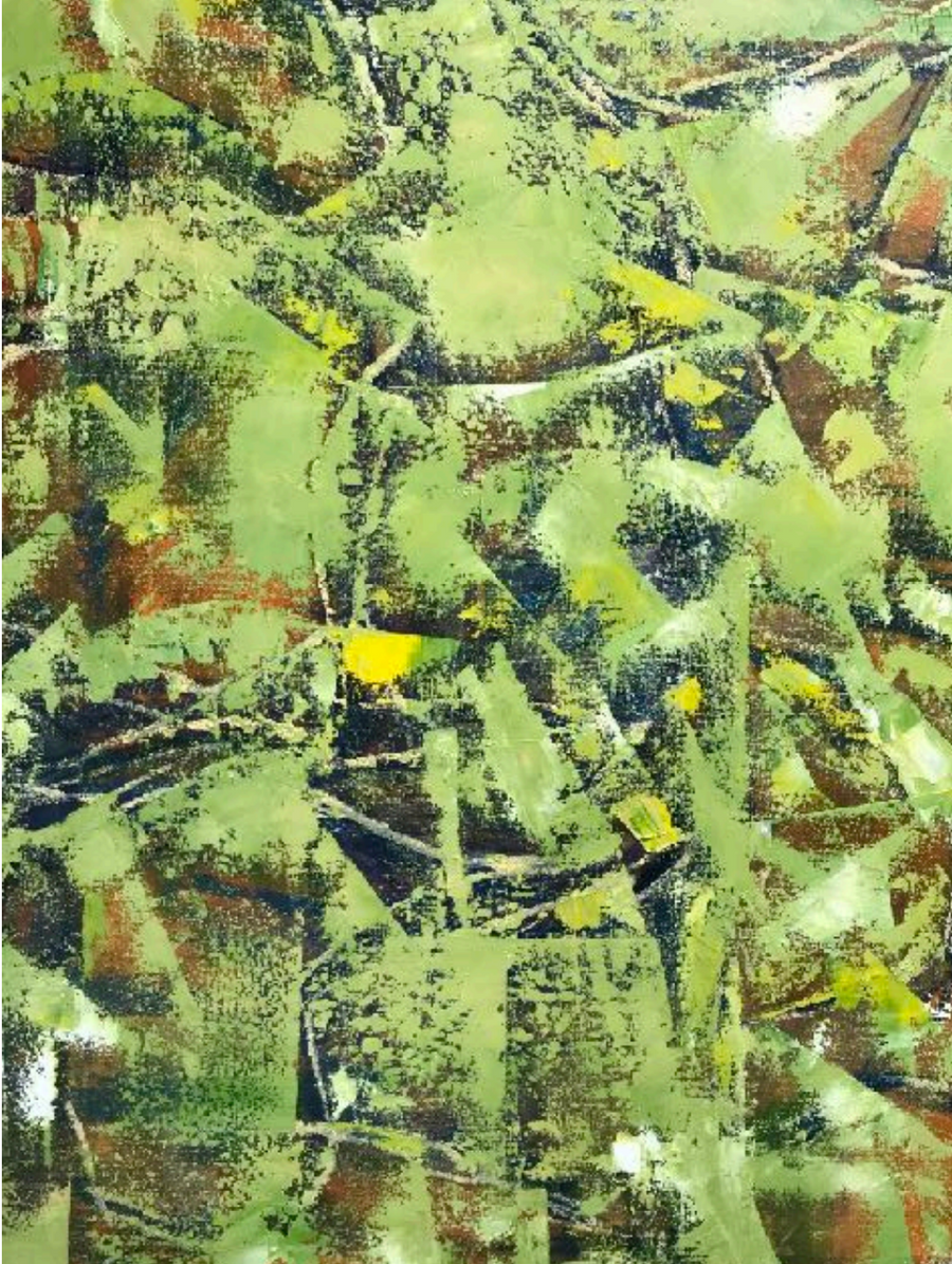 Green, Yellow, and Brown Abstract Painting by Korean-American Artist Sang Eui Kim. Represented by Tuleste Factory in New York City.
