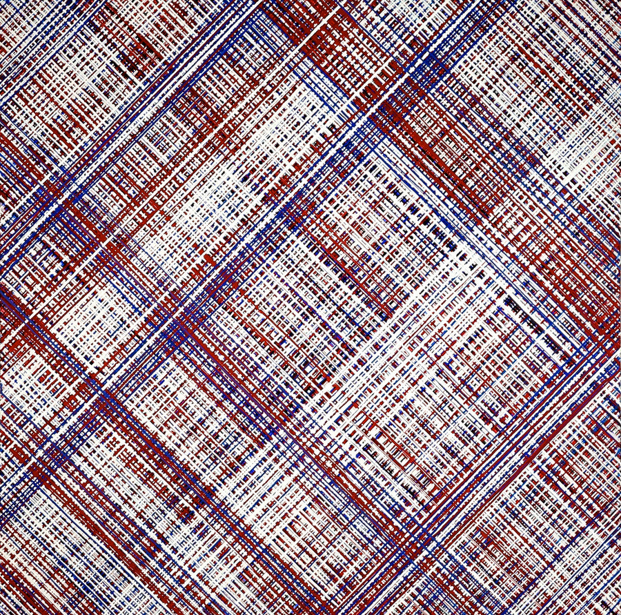 Red, white, and blue abstract drip painting in plaid pattern. Represented by Tuleste Factory in New York City.