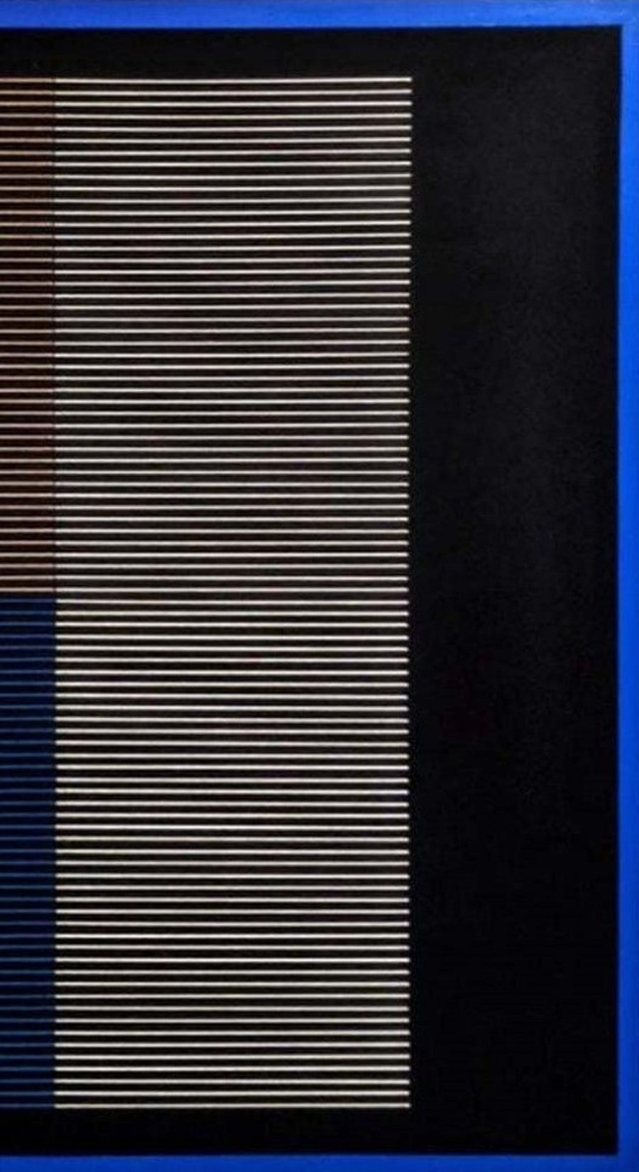 Blue, black, white, and being textile artwork on canvas by Mexico City artist Andreas Diaz Andersson. Represented by fine art and design gallery Tuleste Factory in New York City.