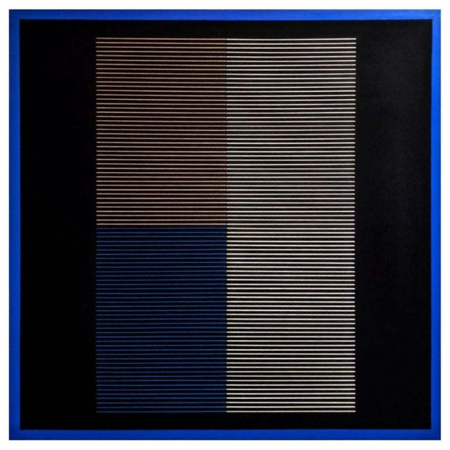 Blue, black, white, and being textile artwork on canvas by Mexico City artist Andreas Diaz Andersson. Represented by Tuleste Factory in New York City.