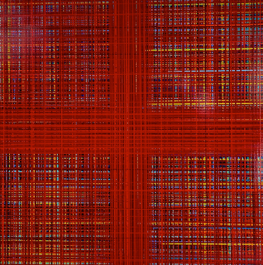 Red multi-colored abstract drip painting by artist Jon James. Represented by Tuleste Factory in New York City.