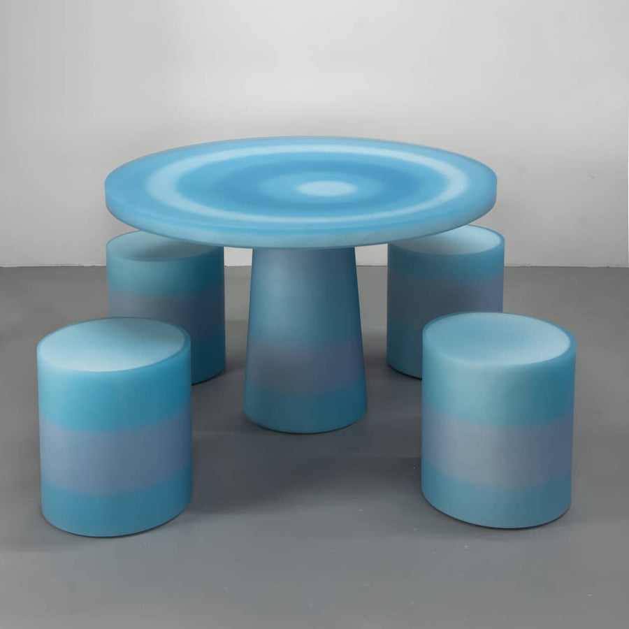 Resin furniture design, dining table as sculpture by Facture Studio. Represented by Tuleste Factory in New York City.