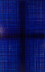 Abstract drip painting in deep blue by artist Jon James. Represented by Tuleste Factory in New York City.