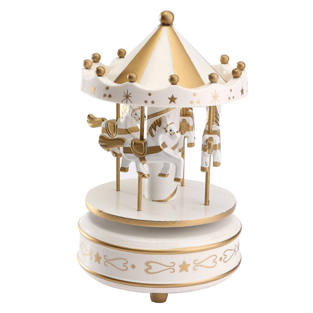 Wooden Gold-White Musical Carousel