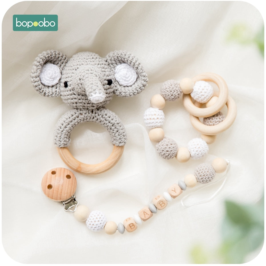 Wooden Animal Design Rattle Teether