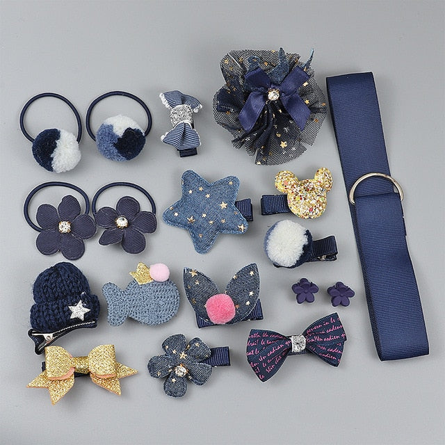 Navy Blue Hair Clip Set