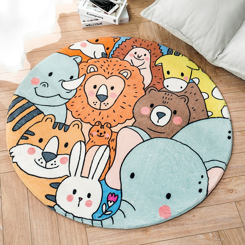 Cartoon Animal  Round Carpet