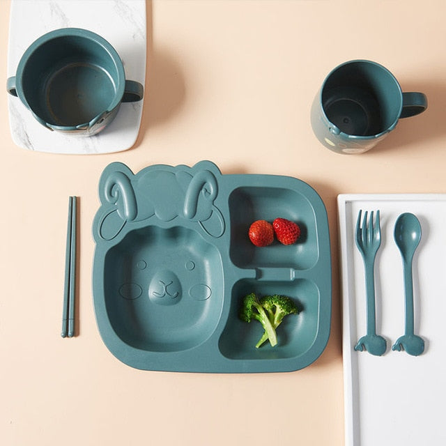 Little Cute Sheep Bamboo Tableware Set