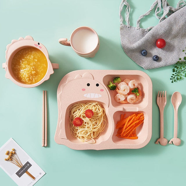 Pink Dinosaur Tableware Set