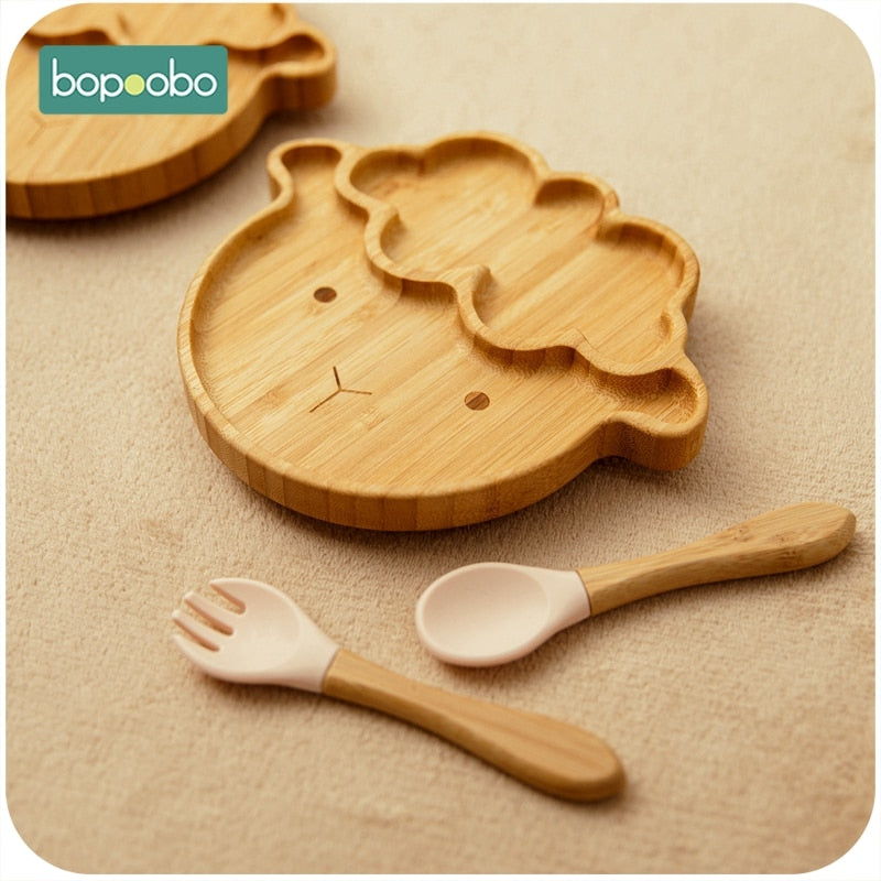 Sheep Bamboo Dinner Plate With Wooden Fork Spoon