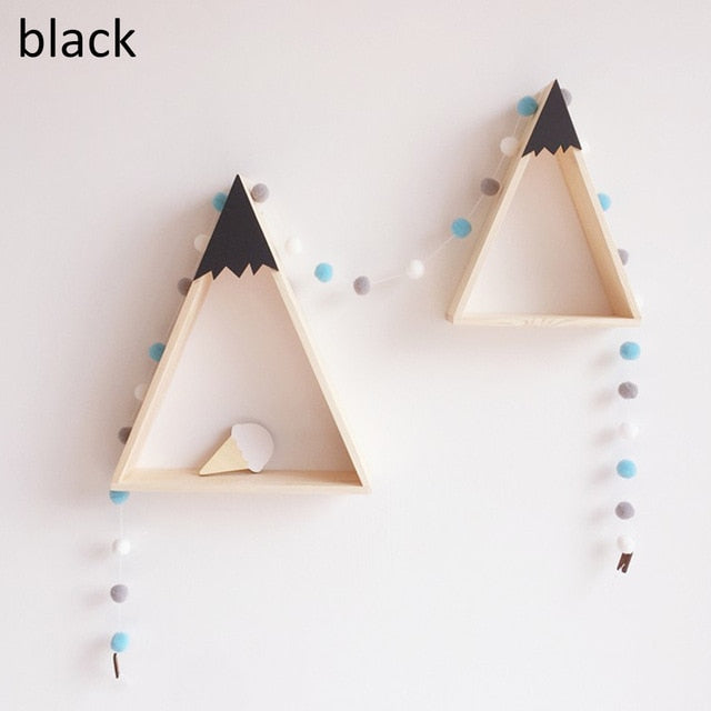 Wooden Storage Racks Creative Triangle Superposition Wall Hanging Shelf Home Decor for Children Bedroom S+L