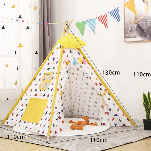 White Yellow Stars Teepee Tent