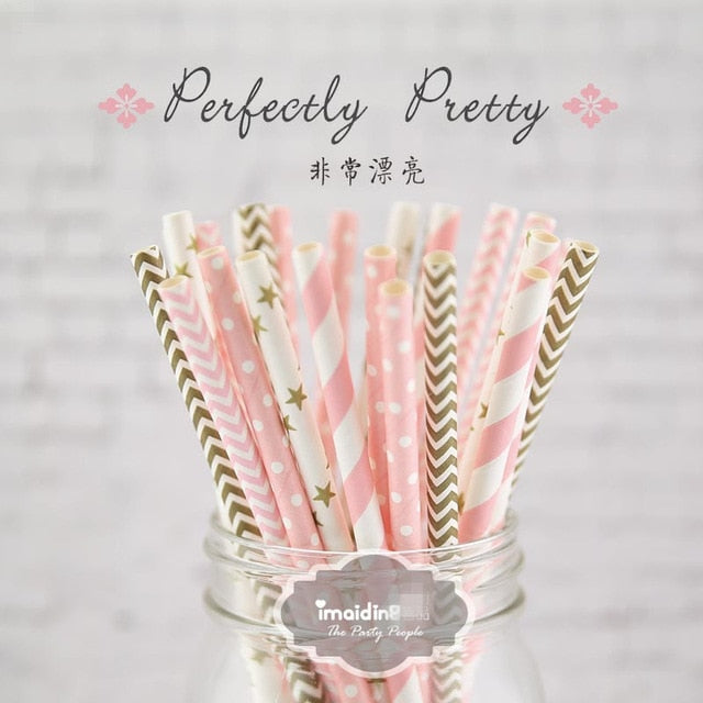 25 Pieces of  Paper Straws For Kids