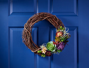 DIY Fall Faux Succulent Wreath in 6 Steps