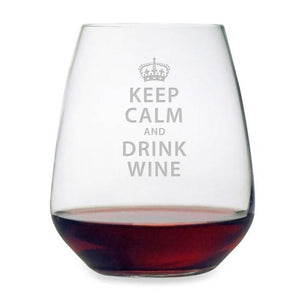 Keep Calm & Drink Stemless Wine