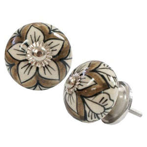 Floral Sketch Knob, Gry/Wht, Ceramic Set of 2
