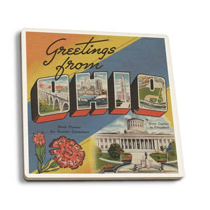Greetings from Ohio State Capital with Flower - Ceramic Coaster
