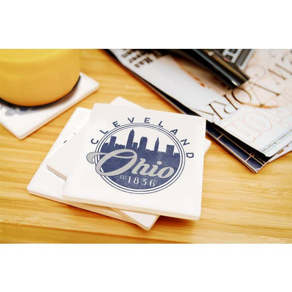 Cleveland - Ohio Skyline Ceramic Coaster