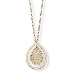 Lara Pendant Necklace in Ivory Raffia