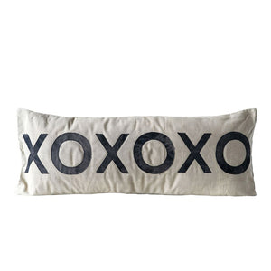 "Cotton Canvas Pillow w/ ""XOXOXO"" - 36"""