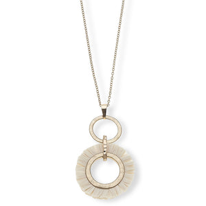 Taryn Pendant Necklace in Ivory Raffia 30""