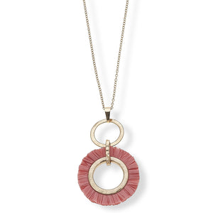 Taryn Pendant Necklace in Coral Raffia 30""