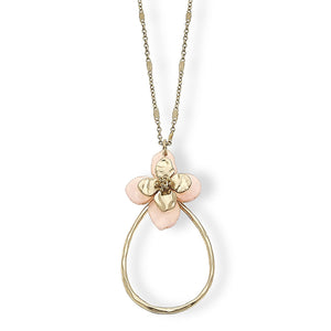 Colette Teardrop Pendant Necklace Pink Resin