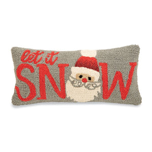 Let It Snow Hooked Wool Pillow