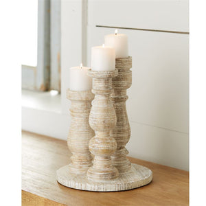 Three Votive Mango Wood Candle Stand