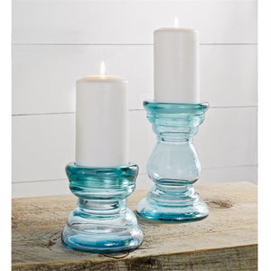 Chunky Glass Candle Sticks