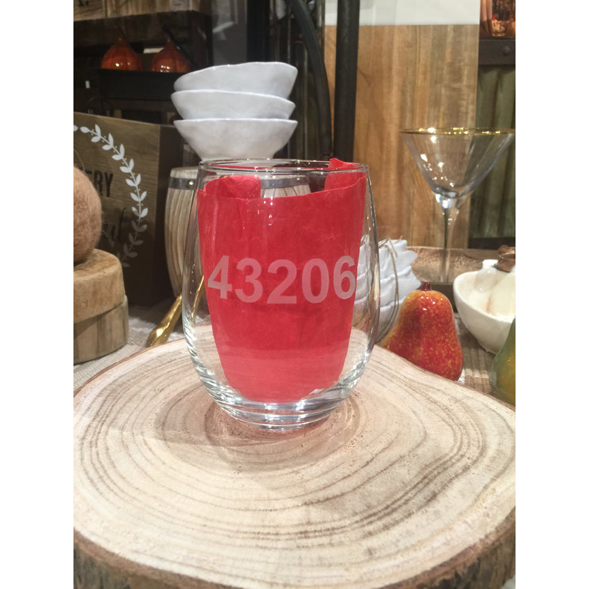 Custom Zip Code Stemless Wine Set of 4