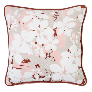 Pink Cotton Floral Pillow - 16""