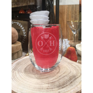 Ohio Founded Stemless Wine Glass
