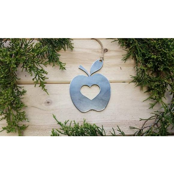 Apple Rustic Raw Steel Ornament