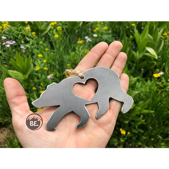 Bear Rustic Raw Steel Ornament
