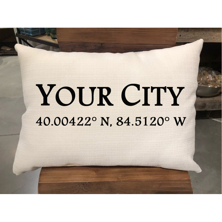 Custom Geo Coordinate City Pillow