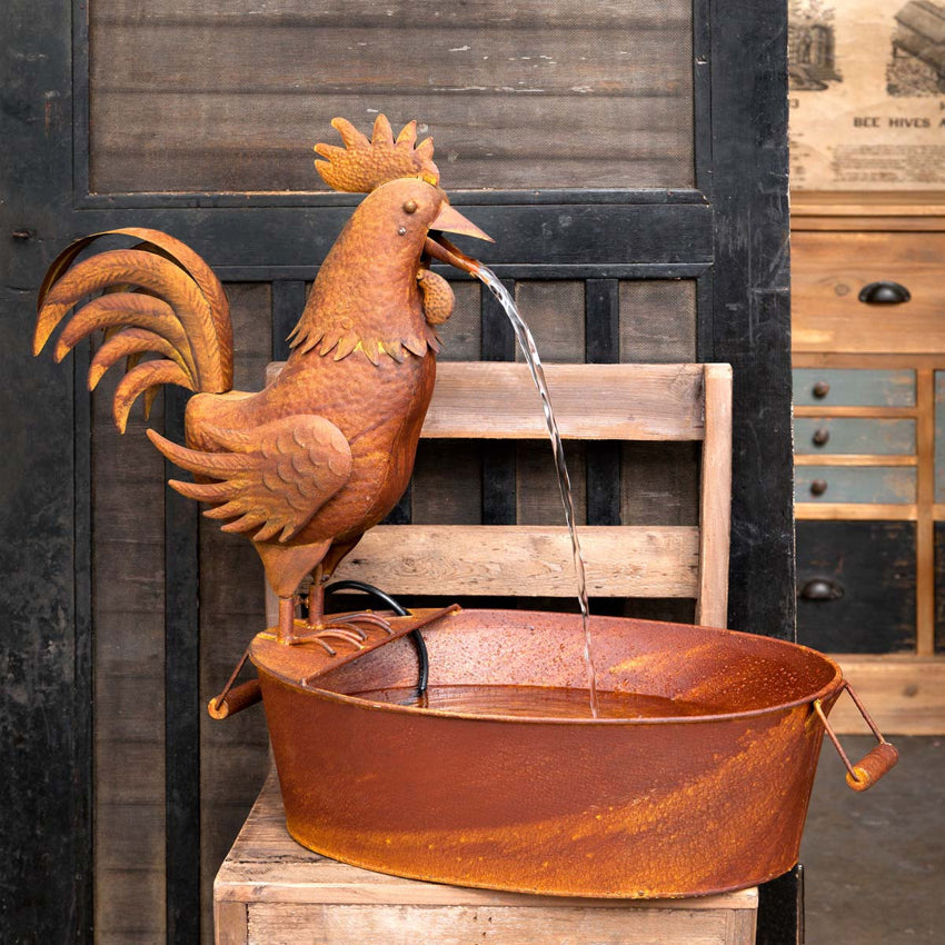 Rustic Rooster Fountain