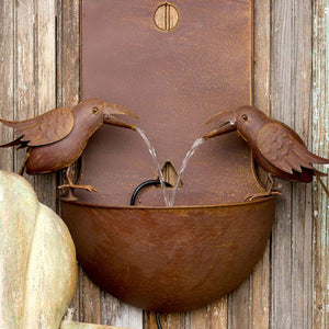 Rustic Crows Wall Fountain