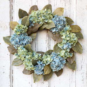 Hydrangea and Magnolia Leaf Wreath