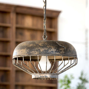 Old Chicken Feeder Pendant Light Fixture