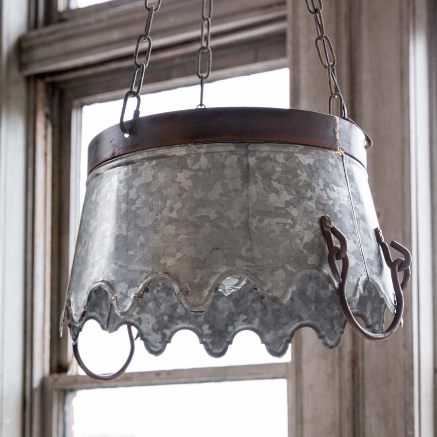 Scalloped Edge Metal Bucket Pendant Light