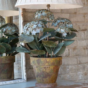 Aged Metal Potted Hydrangea Lamp