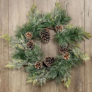 Signature Snowy Pine & Cedar Wreath w/Pinecones