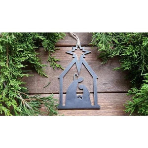 Nativity Scene Rustic Raw Steel Ornament